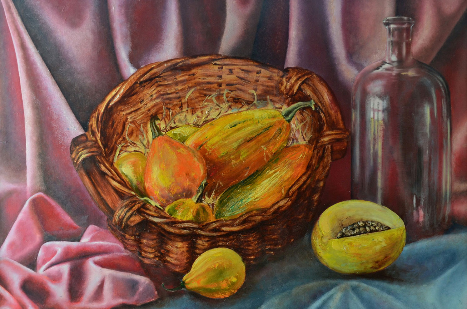 PUMPKIN BASKET STILL LIFE WITH DRAPERY, JAR AND HONEY MELON